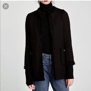 Zara tweed black blazer w gld button on the pocket